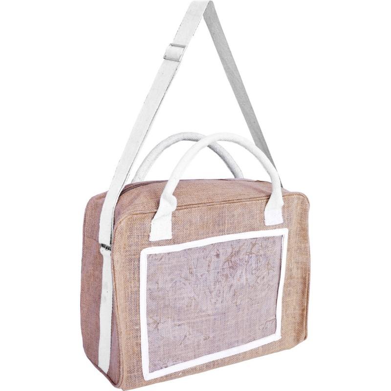 sac en jute avec 2 poign es et sangle de portage. Black Bedroom Furniture Sets. Home Design Ideas