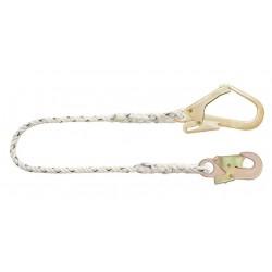 longe en corde toronnée 1,50m avec mousqueton acier et mousqueton d'échafaudage