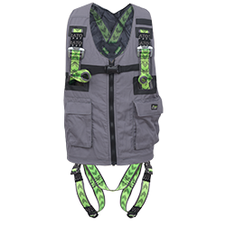 Full body harness with multi-pocket work vest