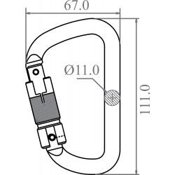 Steel Triple-locking Karabiner - Keylock version