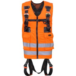 Full body harness with orange high visibility work vest
