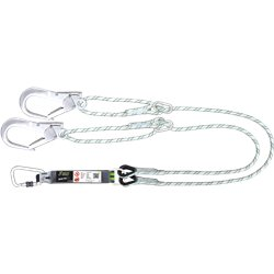 Forked Energy absorbing kernmantle rope lanyard 2 mtr with ring adjuster