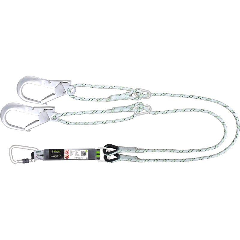 Longe fourche en corde tressée 2 m avec absorbeur d'énergie et boucle à réducteur