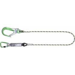 Energy absorbing kernmantle rope lanyard 1.80 mtr with green aluminium hook