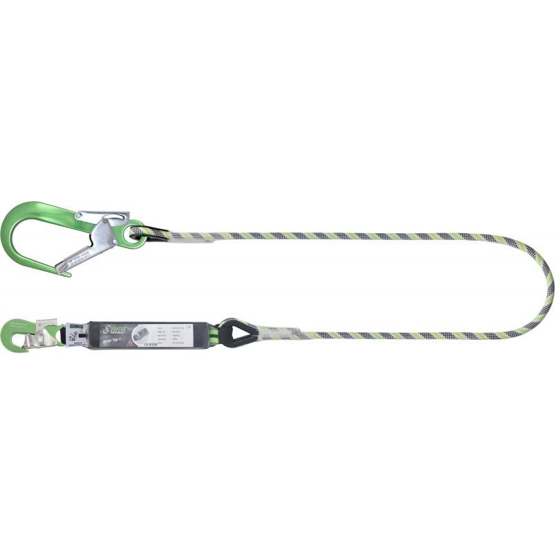 Longe en corde tressée 2 m avec absorbeur d'énergie et mousquetons aluminium vert