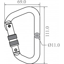 Green Aluminium Screw-locking Karabiner