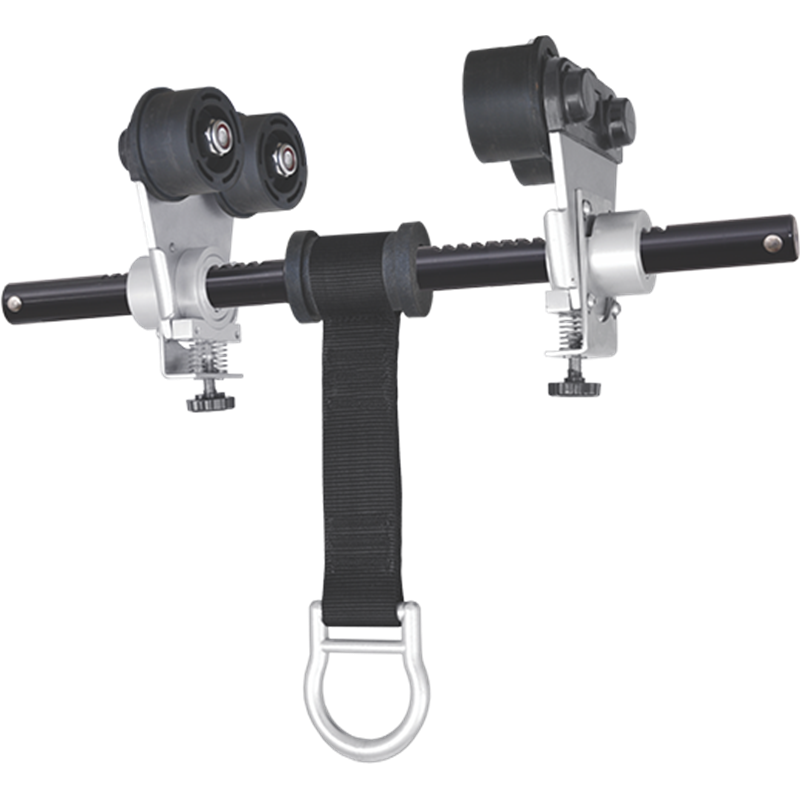 Punto di ancoraggio mobile su rotelle per trave metallica - versione dielettrica
