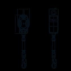 HELIXON Stahldrahtseil, Höhensicherungsgerät mit automatischem Rückzug 3,50 m, für vertikale Verwendung