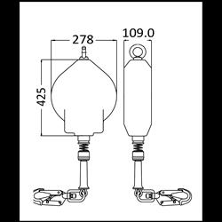 OLYMPE Synthetisches Seil, Absturzsicherung mit automatischem Rückzug 18 m