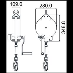 OLYMPE Synthetisches Seil, Absturzsicherung mit automatischem integriertem Rückzug 18 m