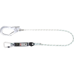 Energy absorbing kernmantle rope lanyard with aluminium connectors, lg. 1 m