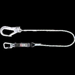 Verbindungsmittel mit Falldämpfer aus Kernmantelseil und Aluminium Karabinern, lg. 1 m
