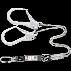 Longe fourche en corde tressée avec absorbeur d'énergie et connecteurs aluminium, lg. 1,50 m