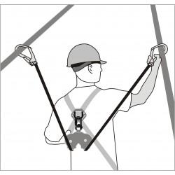 Double aluminium casing with webbing lanyards