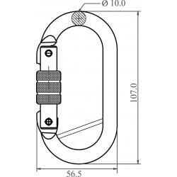 Mousqueton acier à verrouillage à vis avec barette de sûreté