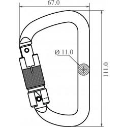 Mousqueton acier à verrouillage automatique triple action
