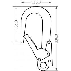 Mousqueton d'échafaudage aluminium verrouillage automatique