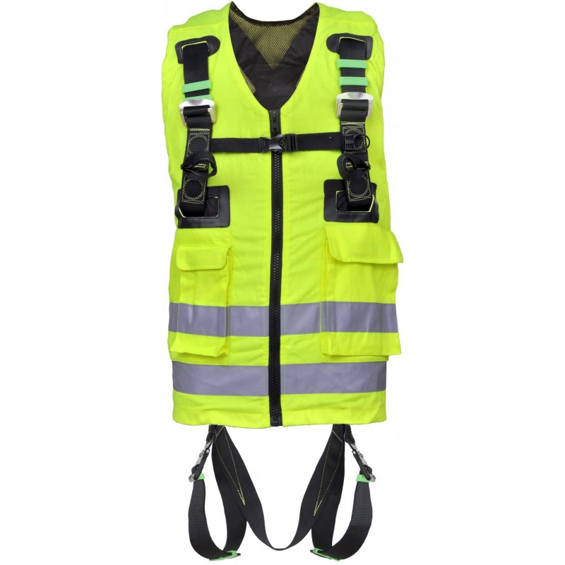 Full body harness with yellow high visibility work vest