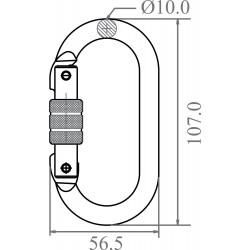 Mousqueton acier à verrouillage à vis