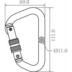 Mousqueton aluminium à verrouillage à vis version Keylock